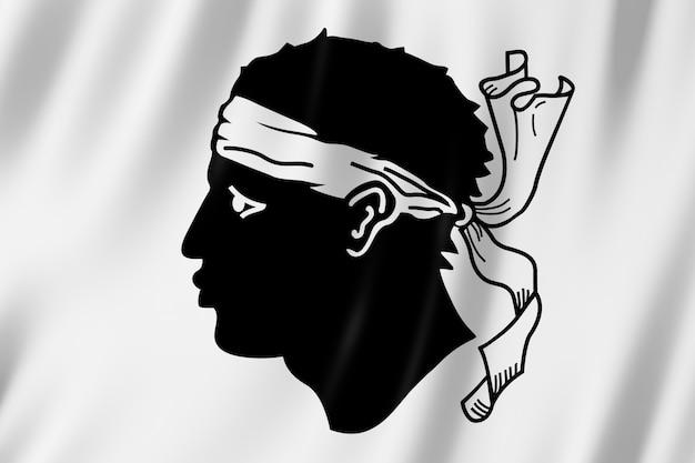 Flagge von korsika, frankreich. 3d-darstellung der korsika fahnenschwingen.