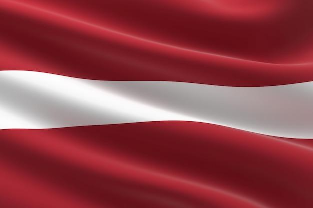 Flagge von lettland. 3d-darstellung des lettischen fahnenschwingens.