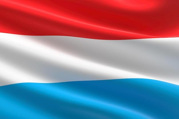 Flagge von luxemburg. 3d-darstellung des luxemburgischen fahnenschwingens.