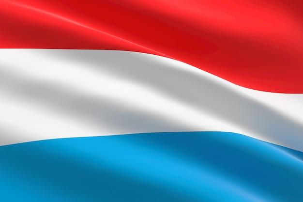 Flagge von luxemburg. 3d illustration des luxemburger flaggenwinkens