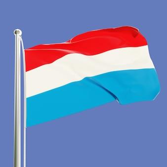 Flagge von luxemburg am fahnenmast weht im wind isoliert auf blauem himmelshintergrund