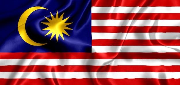 Flagge von malaysia seidennahaufnahme