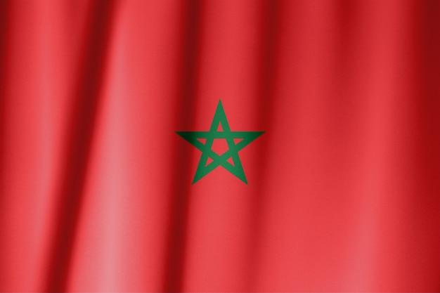 Flagge von marokko. rot hat in marokko eine große historische bedeutung und verkündet die abstammung der königlichen alaouitischen familie vom islamischen propheten muhammad.