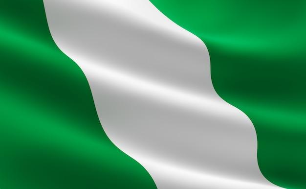 Flagge von nigeria. illustration der nigerianischen flagge winken.