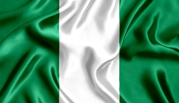 Flagge von nigeria seidennahaufnahme