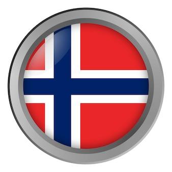 Flagge von norwegen rund als knopf