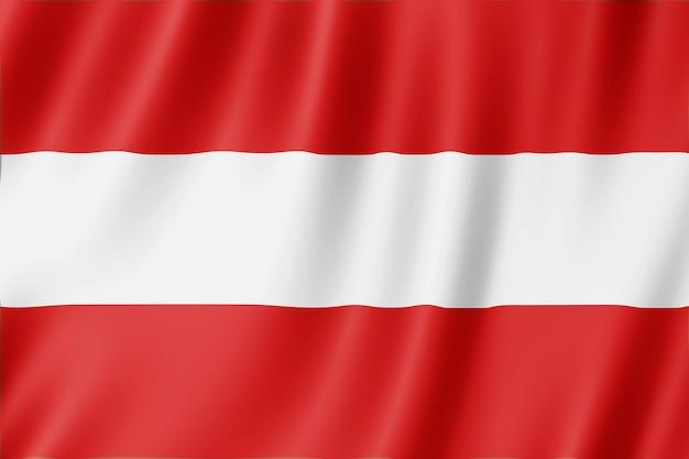 Flagge von österreich weht im wind.