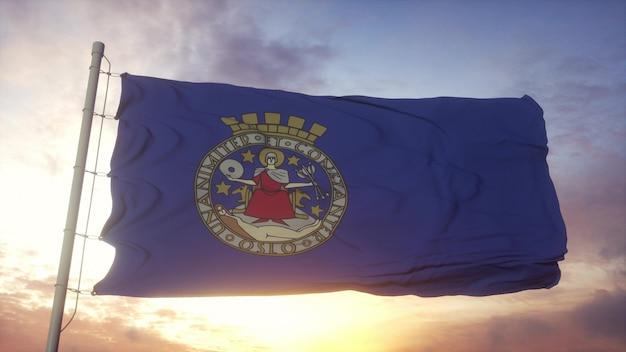 Flagge von oslo, norwegen, die im wind-, himmels- und sonnenhintergrund weht. 3d-rendering