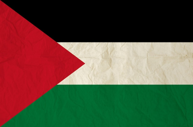 Flagge von palästina mit alter papierbeschaffenheit der weinlese