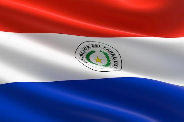 Flagge von paraguay. 3d-darstellung des paraguayischen fahnenschwingens.