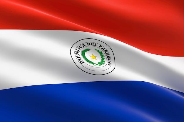 Flagge von paraguay. 3d illustration des paraguayischen flaggenwinkens