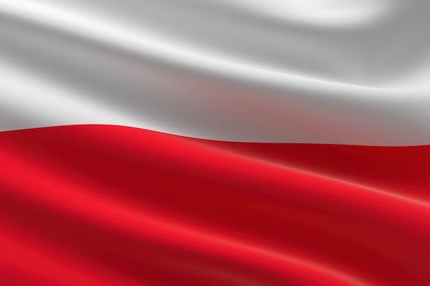 Flagge von polen. 3d-darstellung des polnischen fahnenschwingens.