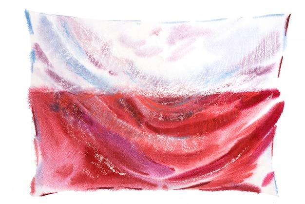 Flagge von polen in aquarellen gemalt