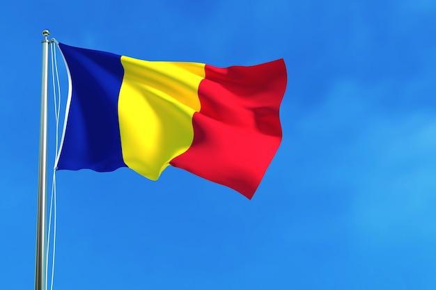 Flagge von rumänien auf der wiedergabe des blauen himmels hintergrund 3d