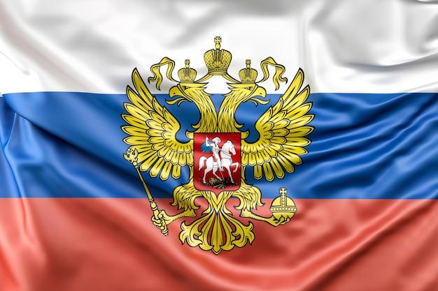 Flagge von russland mit wappen