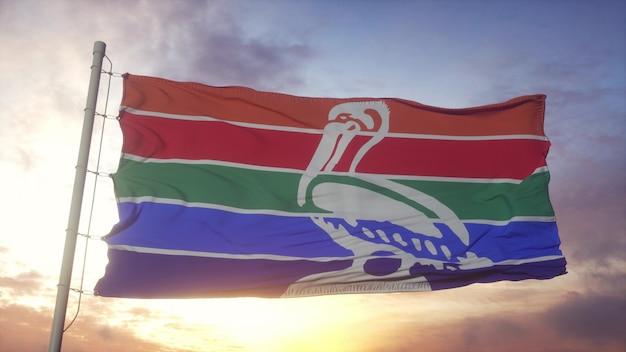 Flagge von sankt petersburg, florida, weht im wind-, himmels- und sonnenhintergrund. 3d-rendering