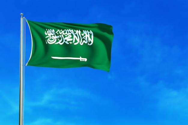 Flagge von saudi-arabien auf der wiedergabe des blauen himmels hintergrund 3d