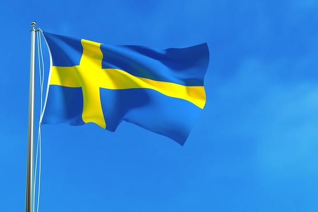 Flagge von schweden auf der wiedergabe des blauen himmels hintergrund 3d