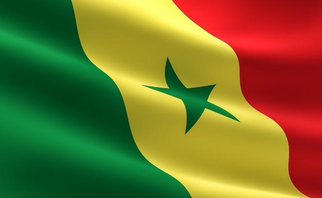 Flagge von senegal. illustration der senegalesischen flagge winken.