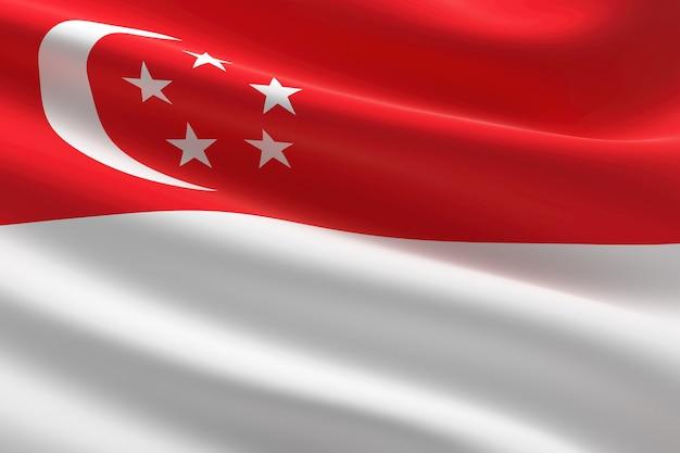 Flagge von singapur. 3d-darstellung des singapurischen fahnenschwingens.
