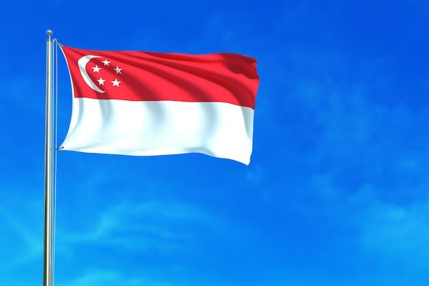 Flagge von singapur auf der wiedergabe 3d des hintergrundes des blauen himmels