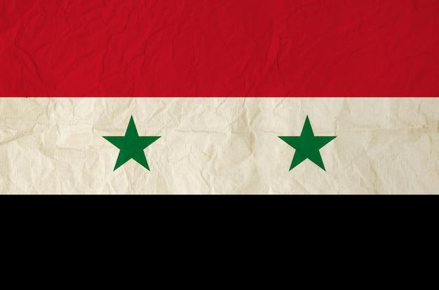 Flagge von syrien mit alter papierbeschaffenheit der weinlese
