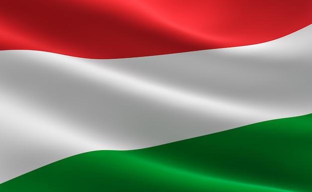 Flagge von ungarn. 3d-darstellung der ungarischen flagge winken.