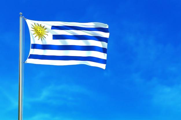 Flagge von uruguay auf der wiedergabe des blauen himmels hintergrund 3d