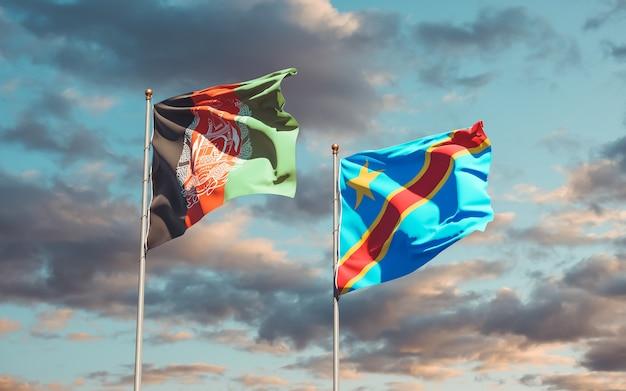 Flaggen der dr kongo und afghanistan. 3d-grafik