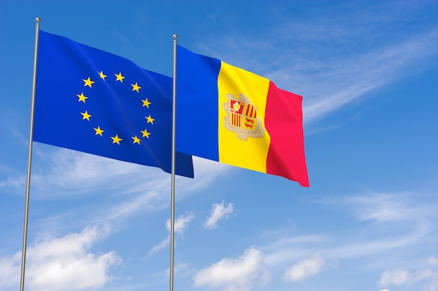 Flaggen der europäischen union und andorra über blauen himmelshintergrund. 3d-darstellung