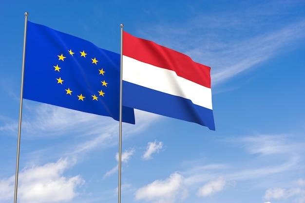 Flaggen der europäischen union und der niederlande über blauen himmelshintergrund. 3d-darstellung