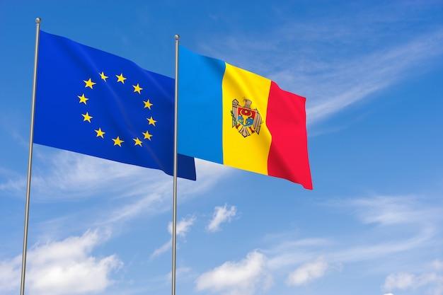 Flaggen der europäischen union und der republik moldau über blauem himmelshintergrund. 3d-darstellung