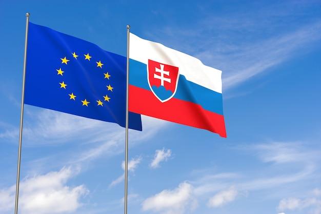 Flaggen der europäischen union und der slowakei über blauen himmelshintergrund. 3d-darstellung