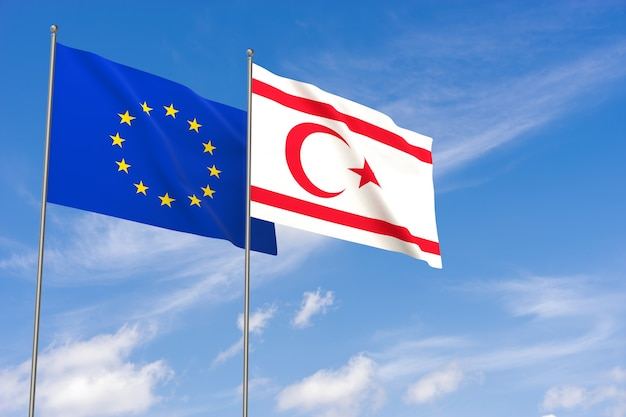Flaggen der europäischen union und der türkischen republik nordzypern über blauen himmelshintergrund. 3d-darstellung