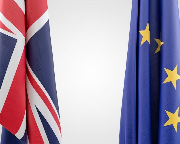 Flaggen der europäischen union und des vereinigten königreichs