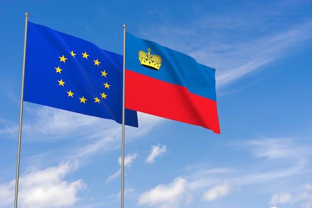 Flaggen der europäischen union und liechtensteins über blauen himmelshintergrund. 3d-darstellung