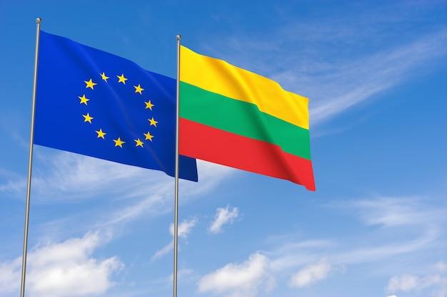 Flaggen der europäischen union und litauens über blauem himmelshintergrund. 3d-darstellung