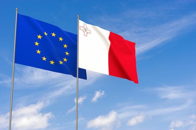 Flaggen der europäischen union und maltas über blauem himmelshintergrund. 3d-darstellung