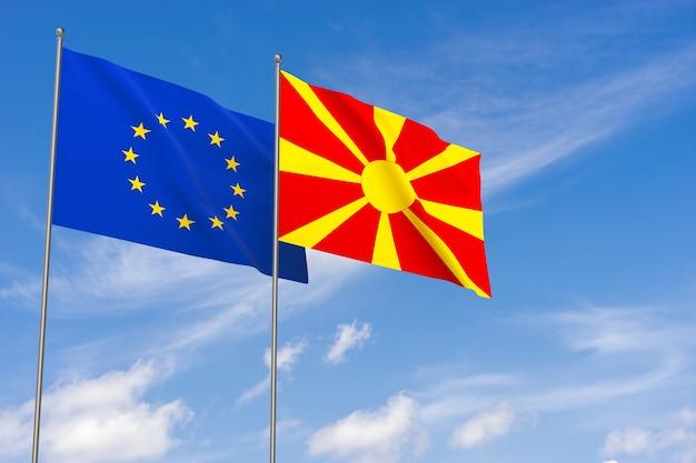Flaggen der europäischen union und mazedoniens über blauem himmelshintergrund. 3d-darstellung