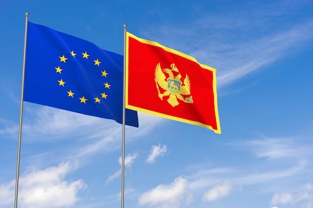 Flaggen der europäischen union und montenegros über blauen himmelshintergrund. 3d-darstellung