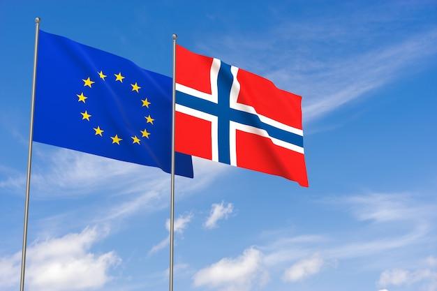 Flaggen der europäischen union und norwegens über blauem himmelshintergrund. 3d-darstellung