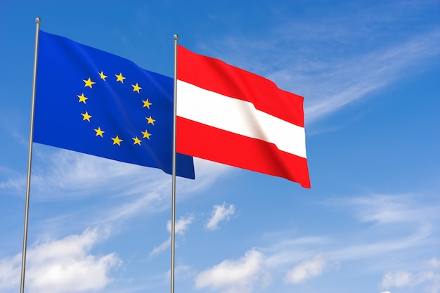Flaggen der europäischen union und österreichs über blauem himmelshintergrund. 3d-darstellung