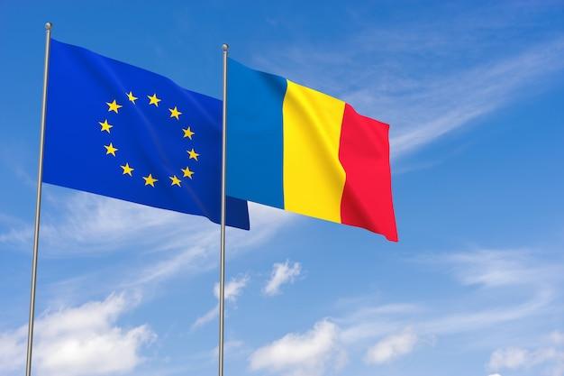 Flaggen der europäischen union und rumäniens über blauem himmelshintergrund. 3d-darstellung