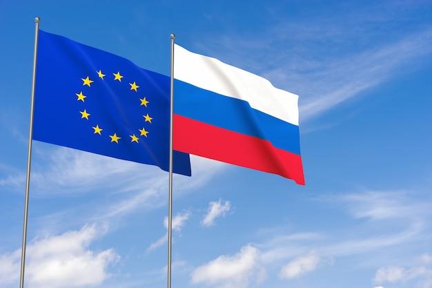 Flaggen der europäischen union und russlands über blauem himmelshintergrund. 3d-darstellung