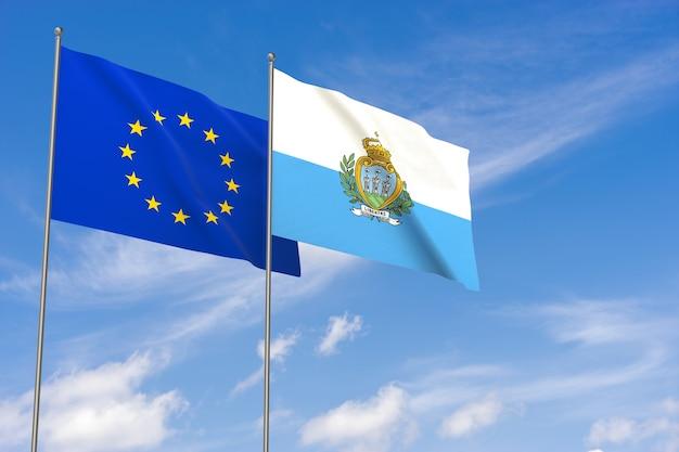 Flaggen der europäischen union und san marino über blauen himmelshintergrund. 3d-darstellung