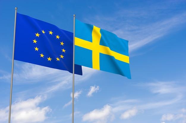 Flaggen der europäischen union und schwedens über blauem himmelshintergrund. 3d-darstellung