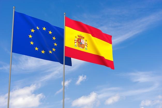 Flaggen der europäischen union und spaniens über blauem himmelshintergrund. 3d-darstellung