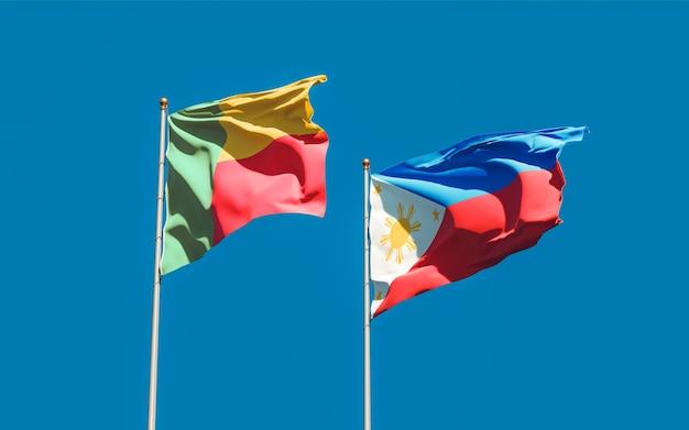 Flaggen der philippinen und benins. 3d-grafik