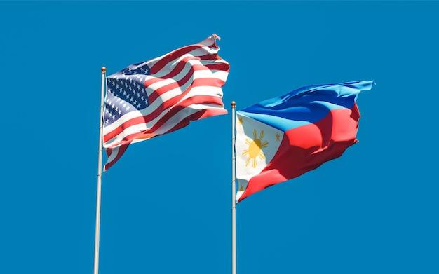Flaggen der philippinen und der usa. 3d-grafik