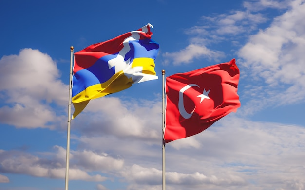 Flaggen der türkei und artsakh. 3d-grafik